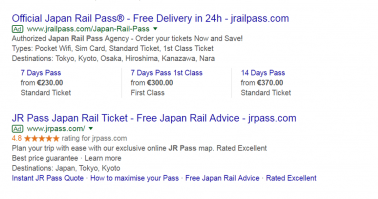 More effective AdWords campaigns with eKomi Japan Rail Pass