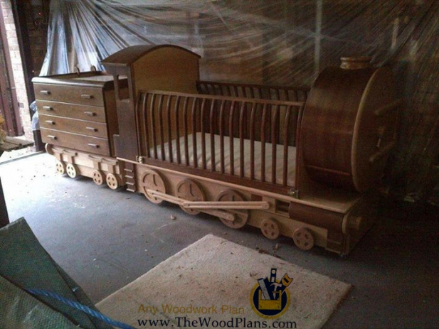 Wooden Train Bed