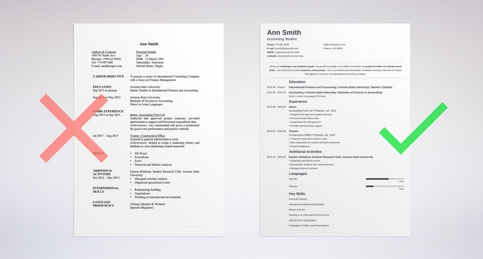 resume builder sample online minimo