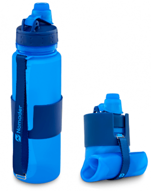 blue nomader water bottle upright and collapsed