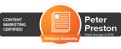 Hubspot Content Marketing Certification Peter Preston
