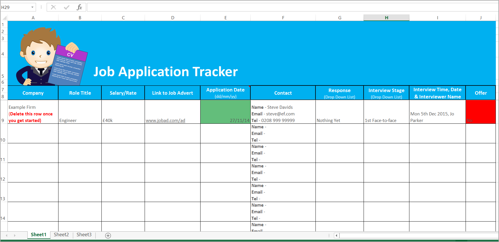 Job Application Tracker Spreadsheet