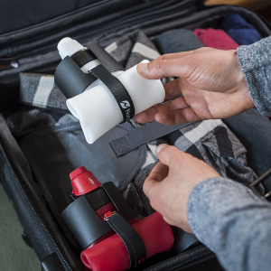 Nomader collapsed water bottle in suitcase