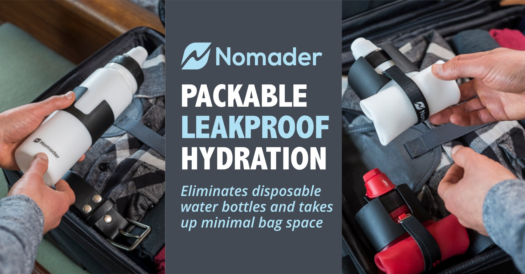 Collapsible Water Bottle for Travel Hydration - Nomader