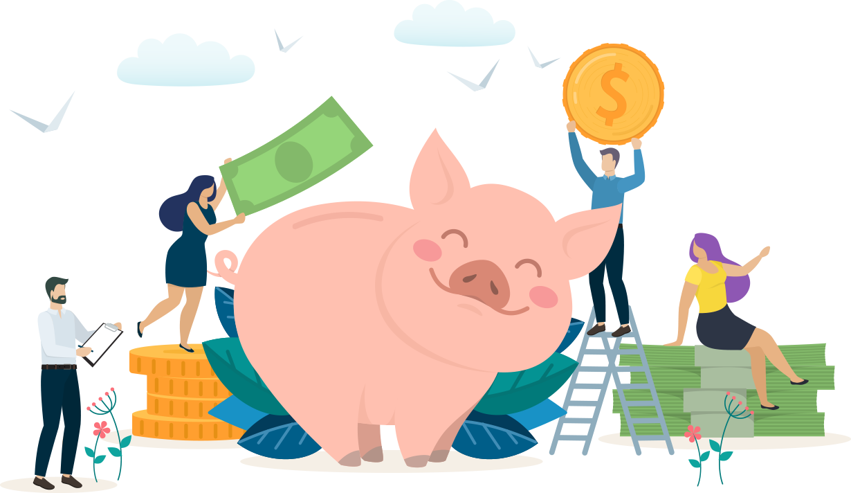 A group of cartoon people surrounding a giant piggy bank, placing coins and dollar bills into it as the pig smiles.