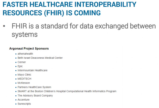 FASTER HEALTHCARE INTEROPERABILITY RESOURCES (FHIR) IS COMING
