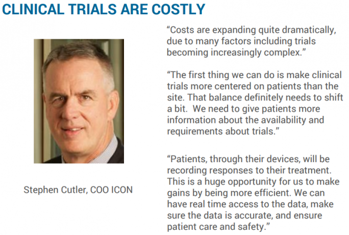 "Quote by Stephen Cutler, COO ICON, ""CLINICAL TRIALS ARE COSTLY"""