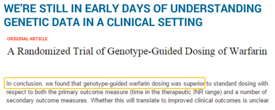 WE'RE STILL IN EARLY DAYS OF UNDERSTANDING GENETIC DATA IN A CLINICAL SETTING
