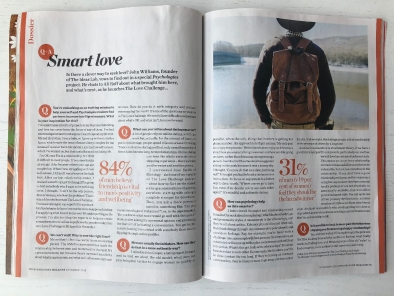 psychologies magazine feature the love challenge with John Williams