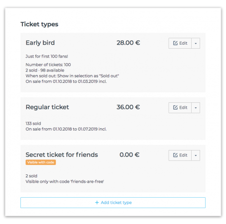 Manage event ticket types and prices with Fienta