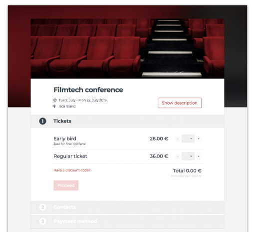 Event ticketing and attendee registration Fienta