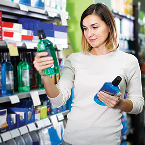 shopper picking mouthwash