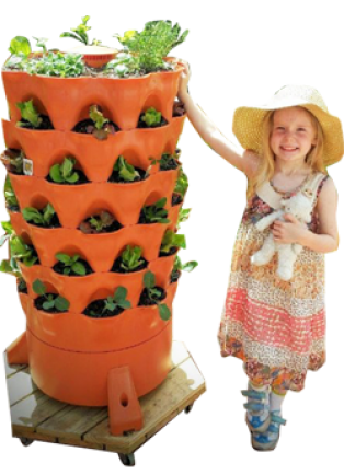 girl next to Garden Tower