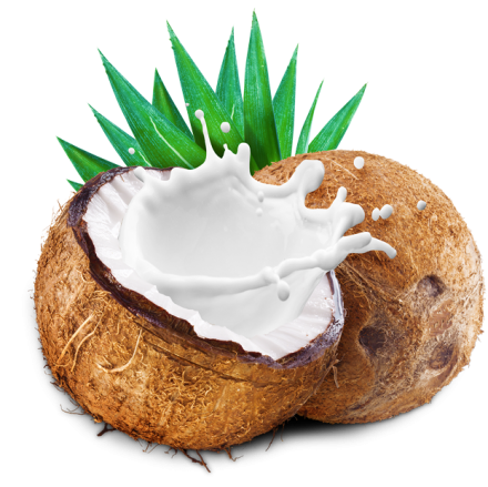 coconut with coconut milk splash