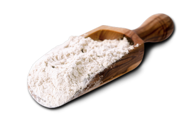 white powder on wooden spoon