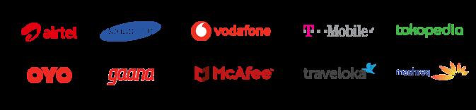 airtel, samsung, vodafone, t-mobile, tokopedia, oyo, gaana, mcafee, traveloka, mashreq