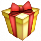 Image of the wrapped present emoji, yellow box with red ribbon. Representating the use of rewards in loyalty marketing.