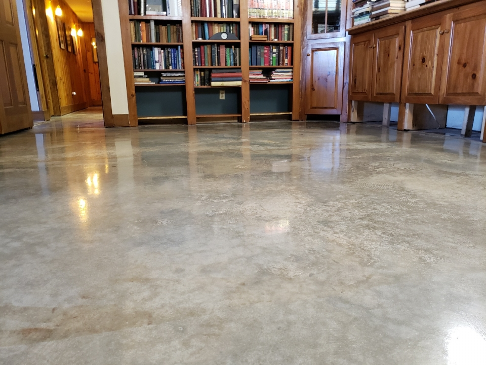 Concrete Cleaning with Bookshelf in the Background