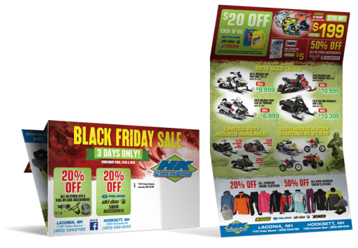 HK Power Sports Black Friday Direct Mail Marketing Programs Tri-Fold
