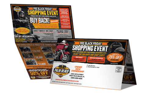 Harley Davidson Black Friday Direct Mail Marketing Campaign Bi-Fold