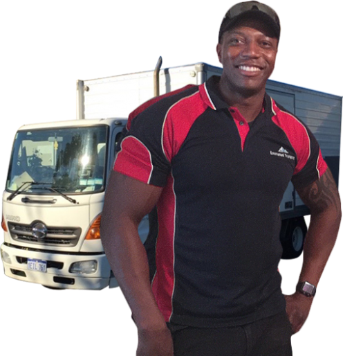 man standing in front of a moving truck