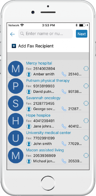 image of iphone featuring QliqSOFT Secure Texting with Snap and Fax