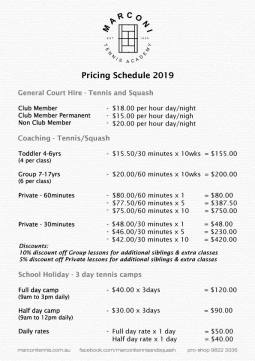 Pricing Schedule 2019