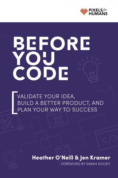 purple 'Before you code' book cover with a white band across the top which has design and lightbulb icons and a pixels for humans logo. Title reads