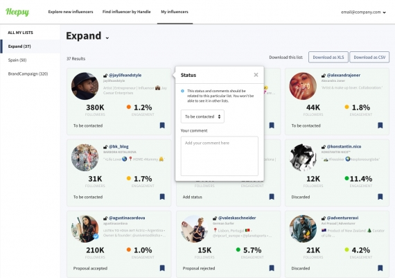 dashboard to organize and contact ig influencers