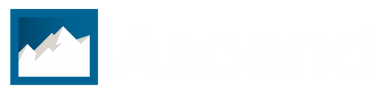 Ascend landscape logo in white.