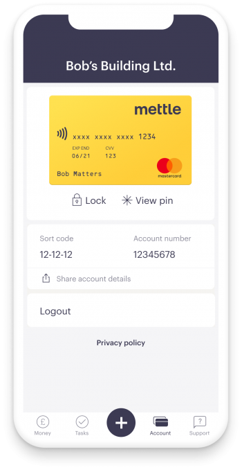 Screen from Mettle app on iPhone showing Mettle debit card in account tab with sort code, account number, lock card and view pin functionality. Mettle App version is visible. The bottom bar shows money,tasks, invoices, bills, payments, account, support.