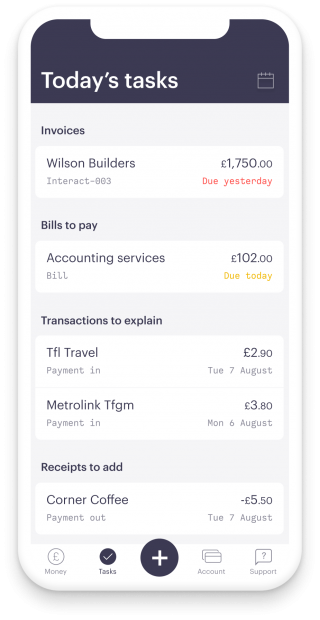 iPhone screen, showing Mettle Today's Tasks. One overdue invoice, one bill to pay to your accounting service and two transactions with receipt to capture. The bottom bar shows money,tasks, invoices, bills, payments, account, support.