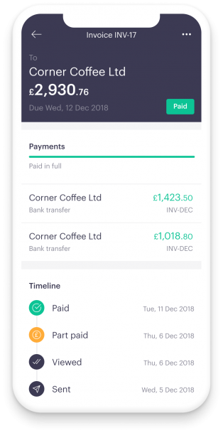 Screen from  Mettle iPhone app. Showing an overdue invoice. Payment terms are for 30 days, below is the issue date and the VAT number. Mark invoice as paid or contact client with nudges. NatWest/RBS/Royal Bank of Scotland backed account.