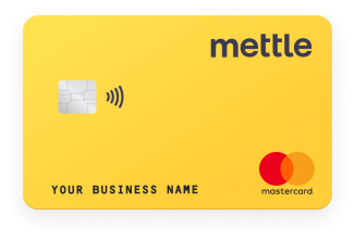 Mettle debit card. Yellow, with contactless option, Mettle logo, Mastercard logo, account number, sort code and business name. Card sits in front of phone with forward looking cashflow. Bank card, not a NatWest or RBS card