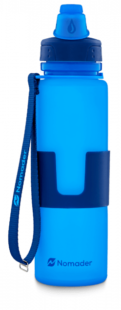 nomader collapsible water bottle with carry strap