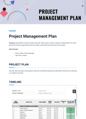 Project Management Plan Template Bitai Document Collaboration - Project management documents