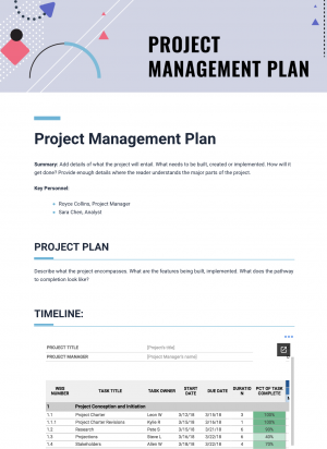 project management plan template customer feedback template