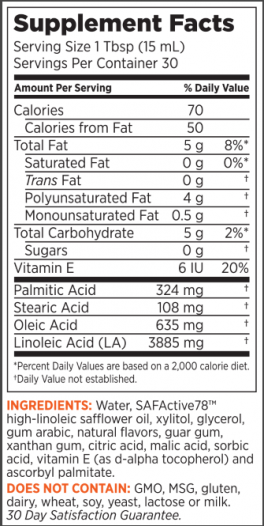 SafSlim Pina Colada Fusion Supplement Facts Panel