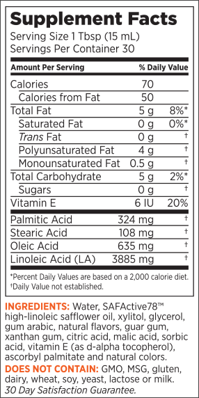 SafSlim Key Lime Fusion Supplement Facts Panel