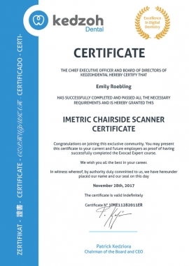 Imetric chairside scanner training certificate