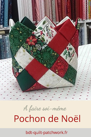 Kit patchwork Noël rouge et vert pochon tissé Noël traditionnel