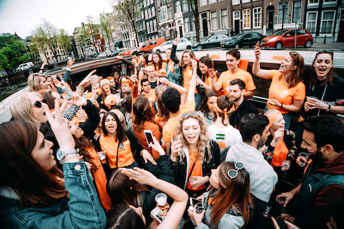 People on King's Day boat