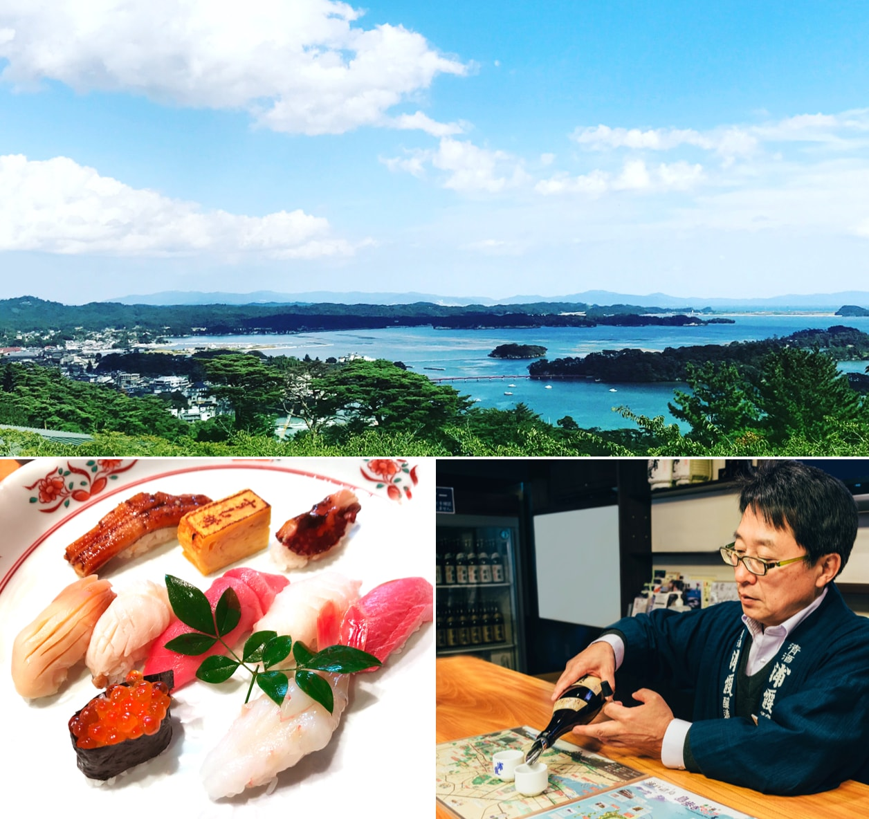 You can enjoy fresh sushi and sake at shiogama area
