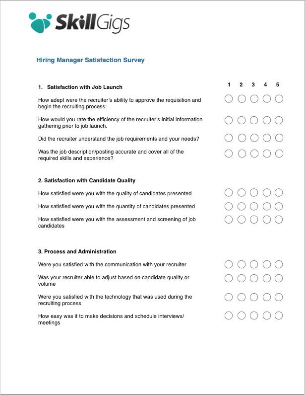 Hiring Manager Satisfaction Survey – Satisfaction Survey Template