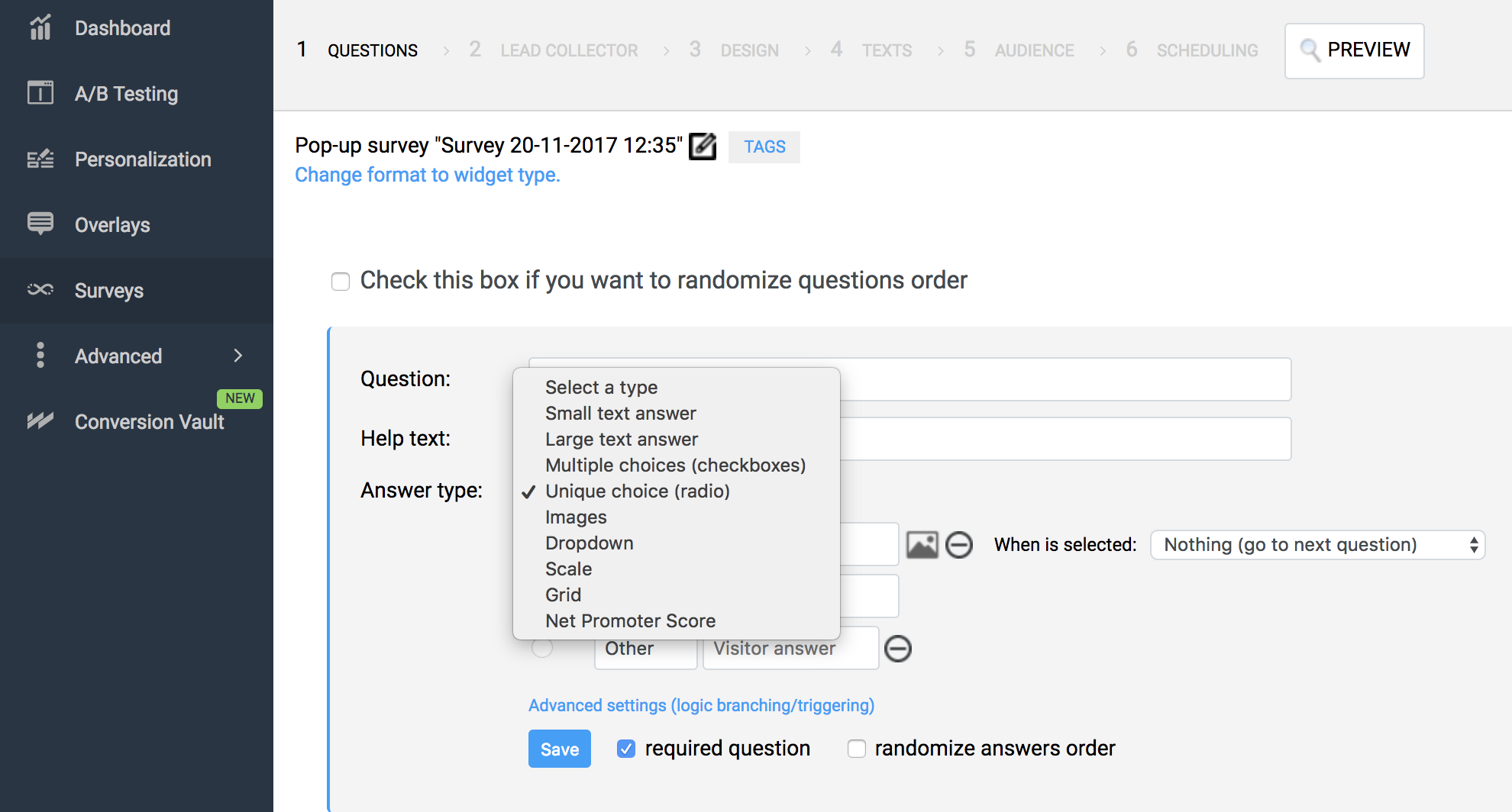 how to create customer survey for new website