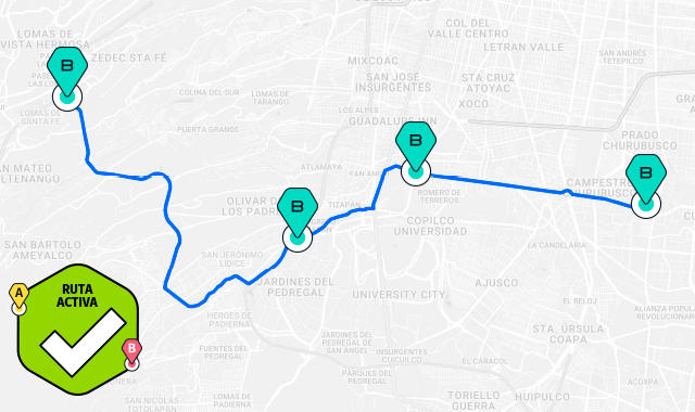 mapa ruta taxqueña miguel angel de quevedo santa fe