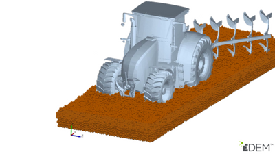 DEM simulation of tractor plough crossing soil