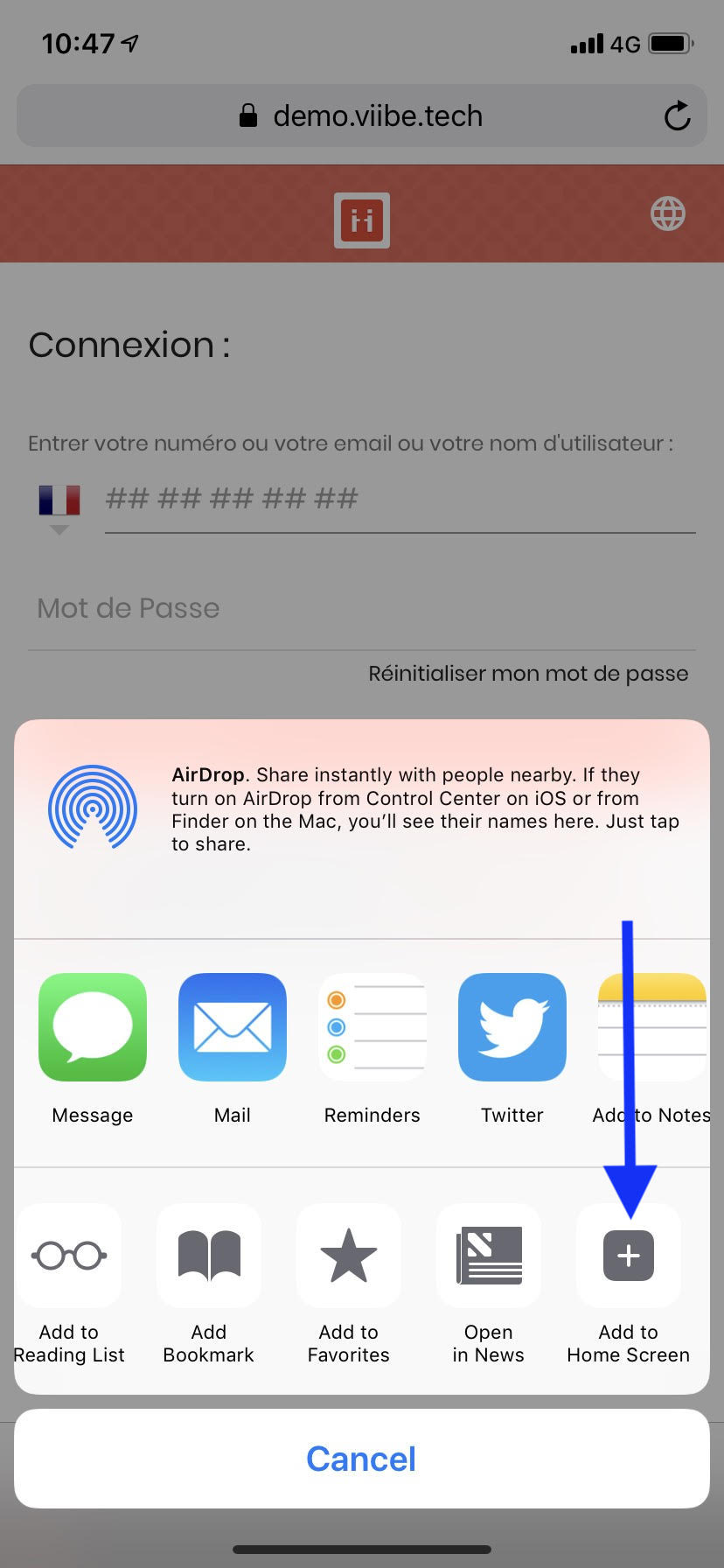 Create a shortcut to your ViiBE homepage from an iOS platform