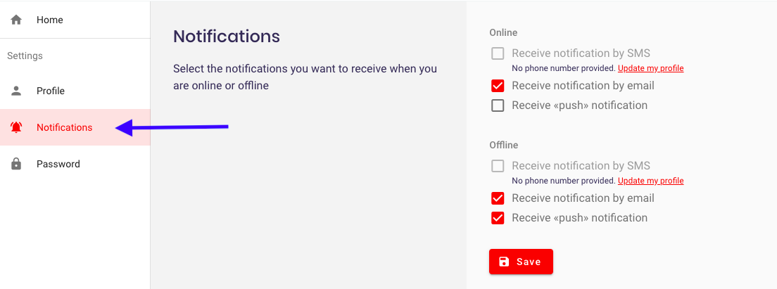 Edit your ViiBE account notification settings
