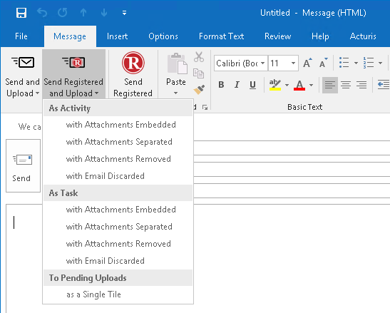 Acturis Send RMail in Outlook